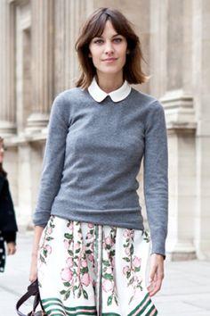 воротничок, кашемировый свитер, летящая юбка