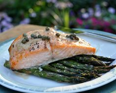 Roasted Salmon & Asparagus, ever so simple, just salmon and fresh asparagus roasted together, easy enough for a weeknight, elegant enough fo...