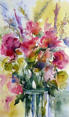 floral paintings, disabell 02, le bouquet, art, water color, bouquet disabell, fresh flowers, flower watercolour, watercolor magic