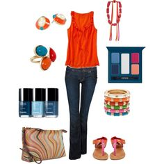 """Orange, Pink, & Aqua"" by kswirsding on Polyvore"
