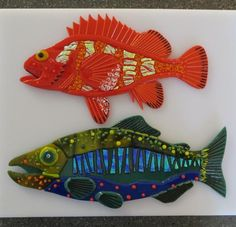 Rock Fish & Salmon - Delphi Stained Glass