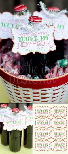 Christmas Neighbor Coke Gift #Christmas #Gift #Tags #Printable #Coke #Soda #Pepsi #Vintage #Retro #Label #Neighbor #Idea