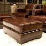 Elements Fine Home Furnishings - Emerson Top Grain Leather Standard Ottoman in Saddle - EME-SO-SADD-1  SPECIAL PRICE: $398.99