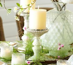 Milk Glass Pillar Candle Holders | Pottery Barn