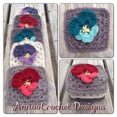 Spring Pansy Flower Granny Free Pattern