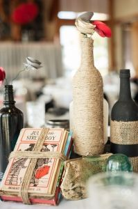Twine wrapped bottles as rustic vases.