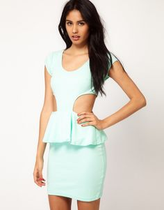 Mint Green Peplum Dress With Cut-Out Trend.