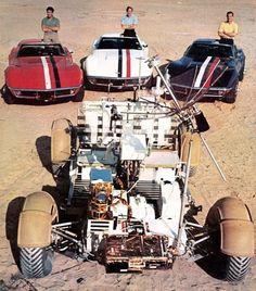 Apollo 15 Astronauts, their Corvettes and the Lunar Rover.