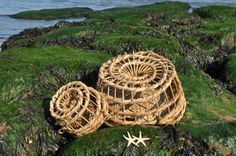 Set of two wicker lobster/ crab pots traps