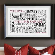 personalised 'we love' word art print by cherry pete | notonthehighstreet.com