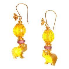 Helen of Troy Magical Yellow Elephant earrings.