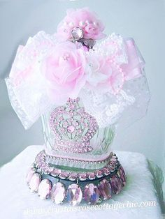 Repurposed Pink Crown Bottle - I have enough of these as my husband loves Crown.