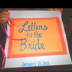 The maid of honor could put this together. Have the mother of the bride, mother in law, bridesmaids, and friends of the bride write letters to the bride, then put them in a book so she can read them while getting ready. The last page can be a letter from the groom. Aaawwww!