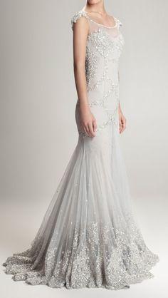 Gorgeous silver grey wedding gown with silver beaded detailing | Hamda Al Fahim F/W 12/13