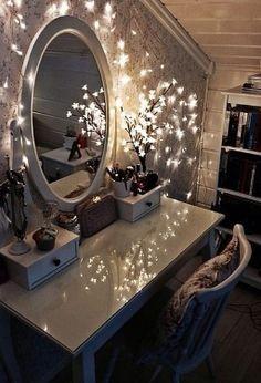 Vanity decorated in twinkle lights