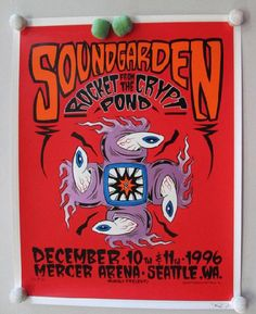 Original silkscreen concert poster for Soundgarden at The Mercer Arena in Seattle, WA in 1996. 18.5 x 23.5 inches on card stock. Signed and numbered out of 500 by the artist by Alan Forbes.