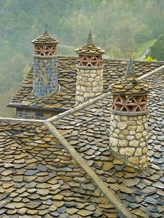 Chimneys, The Pyrenees, France.
