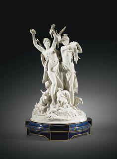 AN IMPORTANT SÈVRES PORCELAIN BISCUIT GROUP LE RETOUR DE CHASSE, CIRCA 1885, BY ALBERT-ERNEST CARRIER-BELLEUSE formé de deux figures de femmes drapées à antique, debout sur une terrasse circulaire, accompagnées de chiens, l'une les bras levés, tenant des volatiles, l'autre portant un chevreuil sur l'épaule. Avec le catalogue de l'Exposition universelle de 1900.