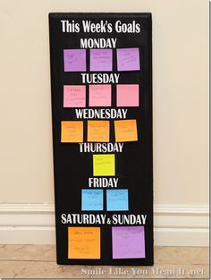 Weekly Goal Board.  Chalk Board Paint so you can use it as a black board or use it to put post-it notes so it's super easy to change around if you don't get to that task as soon as you had hoped.