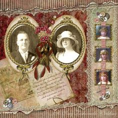 A Very Fashionable Wedding ~ stunning heritage digi page with a list of kits used. The details on this layout are simply gorgeous!