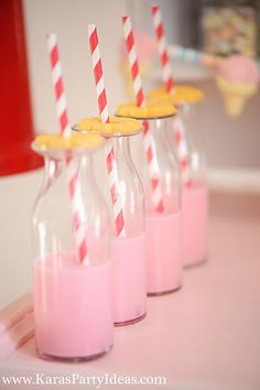 sweet shoppe candy birthday party styled by www.karaspartyideas.com for zurchers. love the milk bottles with cookies and paper straws.