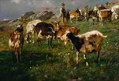 Anton Braith (German, 1836-1905). Shepherd with Goats, 1895. Charles and Emma Frye Collection, 1952.015
