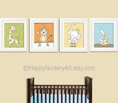 Colorful set nursery art prints, safari animals, giraffe, elephant, monkey, turtle, kids wall art, children decor, unisex baby art.