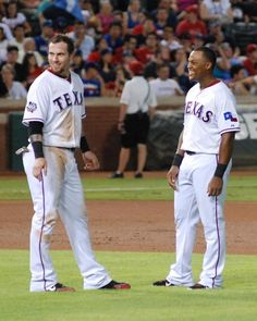 Josh Hamilton & Adrian Beltre showing off their All-Star smiles.