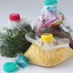 Reuse plastic bottles to close up your plastic bags.