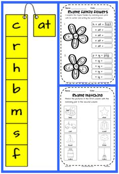 Great FREEBIE for reviewing rhyme. Student runs the 'at' rime down the onset strip saying each word as they go. Corresponding worksheets. FREE!