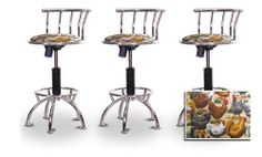 """3 24""""-29"""" Chicken Seat Chrome Adjustable Specialty / Custom Barstools Set by The Furniture Cove. $292.88. Black Metal Finish. Custom Upholstery. Swivel Seat. Back Rest and Foot Rest. 24"""" to 29"""" Adjustable Seat Height. These have a fitting appearance for a wide variety of places. They look and feel great, feature a custom upholstered seat, and are impressively versatile. The frame is made of metal making it a strong, heavy duty stool. The cushion is 14 inches wide..."""