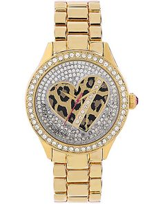LEOPARD HEART GOLD BAND WATCH LEOPARD accessories jewelry watches fashion