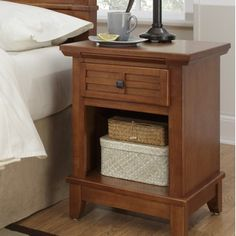 Home Styles Arts and Crafts Nightstand in Warm Cottage Oak