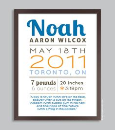Custom Birth Print Poster 11x14 Nursery Wall Art Print (personalized quote, baby name, and birth stats) blue & orange. $36.00, via Etsy.