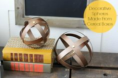 Industrial Decorative Spheres Made From Cereal Boxes via @Taryn H {Design, Dining + Diapers}