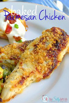 Baked Parmesan Chicken recipe with side dishes, seared brussel sprouts and twice baked potatoes, the perfect budget meal! #RollIntoSavings #shop