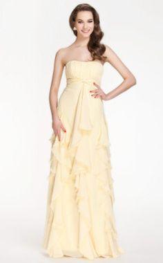 Sheath/Column Strapless Floor-length Chiffon #Bridesmaid #Dress #wedding