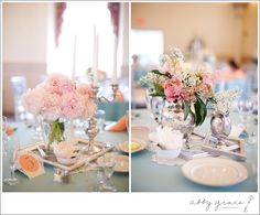 lace doilies underneath centerpieces