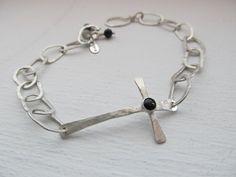 Hand forged CROSS bracelet in sterling silver, artisan handmade cross bracelet, metalsmith jewelry by JoDeneMoneuseJewelry