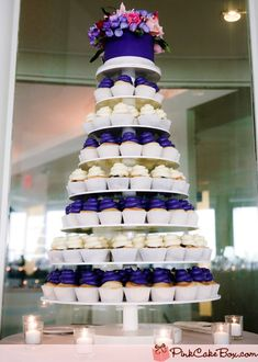 Purple and white cupcake tower