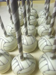 VOLLEYBALL CAKE POPS!!!!!
