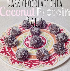 Dark Chocolate Chia Coconut Protein Balls shared by becks_tonesitup. 1/2 cup chocolate Perfect Fit Protein, 2 tbsp chunky peanut butter, 2 tbsp honey, 2 tbsp melted coconut oil, 1 tbsp cacao powder, tsp chia seeds, and a handful of carob chips. Mix all of the ingredients together, form into balls, then top with shredded coconut! Refrigerate for 20 minutes.