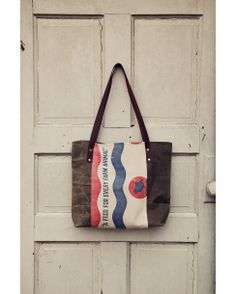 Hawks and Doves Waxed Canvas and Vintage CO-OP Feed Sack Tote