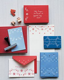 these clever cards, stationary, notes and envelopes are inspirations from those old-fashioned bandanna patterns.  Instructions and other bandana inspired projects are on MSL website