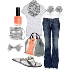 jean, orang, purs, color combos, bag, flip flops, bow, casual outfits, shoe
