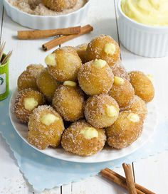 Snickerdoodle Poppers - filled with white chocolate and coated in cinnamon sugar.