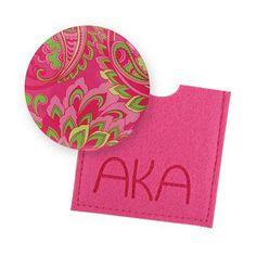 Alpha Kappa Alpha Button Mirror $4.95 #Greek #Sorority #Accessories #Gifts #BackToSchool #AlphaKappaAlpha #AKA