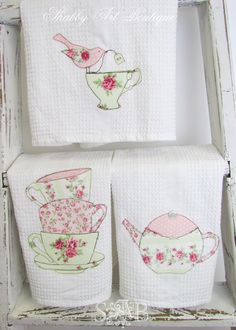Shabby Chic appliques pastel tea towels