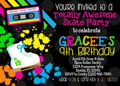 NEON SKATE PARTY 5x7 Invitation  Girl Birthday  by PartySoPerfect, $9.50