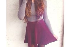 Adorable! red skirt wavy More